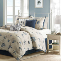 King Size Nautical Starfish Beach Shells Coastal 7 Piece Bed Bag Comforter Set
