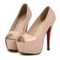 Super High Thin Heel Night Club Sexy Peep-toe Women Shoes  nude pink