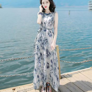 Women Dress Floral Print Work Business Casual Party Vestidos Free Shipping Long Maxi Dresses 181