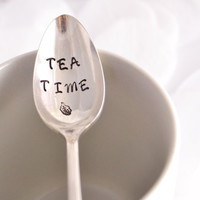 Tea Time-iced tea spoon, hand stamped teaspoon - tea lover gift