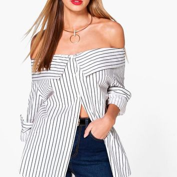 Charlotte Striped Bardot Shirt | Boohoo