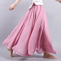 Summer Long Skirt Womens 2017 Bohemian Brand Circel Cotton Maxi