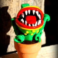 Little Shop of Horrors Inspired Audrey 2 Themed Clay Charm Necklace
