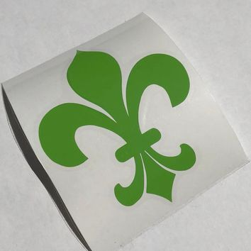 Green Fleur de Lis Vinyl Decal on Clear Transfer Paper; Can be applied to a tumbler, laptop, car, etc; Other designs & colors available