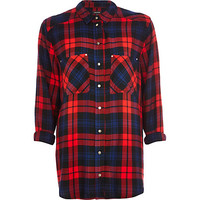 River Island Womens Navy check oversized shirt