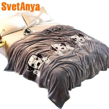 Svetanya 230x250cm Cartoon Dog Throws Blanket Fleece Fabric Sheet Bedspread Twin Full Queen King size