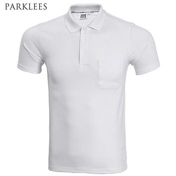 2017 Brand Polo Shirt Men Fashion Short Sleeve Solid Color Pocket Polo Homme Casual Slim Fit Mens