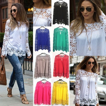 NEW Lace Tops Chiffon Shirt Womens Ladies Long Sleeve Embroidery Blouse Size SMLXLXXL = 1827657092