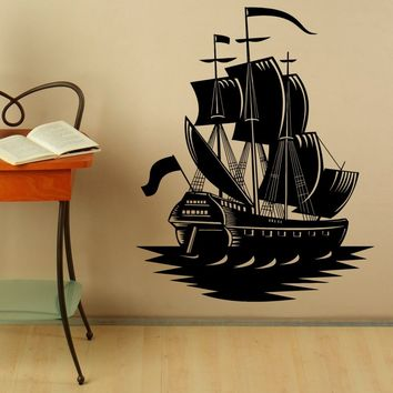 Marine Ship Wall Vinyl Decal Stickers Pirate Ship Interior Housewares Design Bedroom Home Decor Made in US