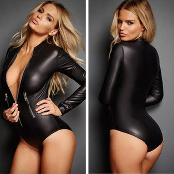 Faux Leather Bodysuit Female Jumpsuit 2017 Long Sleeve Zip Detail Rompers Womens Jumpsuits Playsuit Sexy Overalls for Women