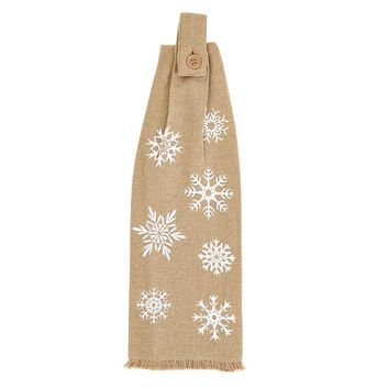 Snowflake Burlap Button Loop Kitchen Towel Set of 2