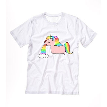 UNICORN T shirt Tshirt Tee Tumblr blanc unisexe fashion women pink white tee shirt tumblr graphic size S M L - 5sos one direction