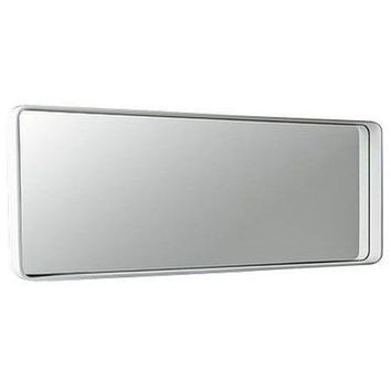 ID Wall Mounted Framed Mirror for Bathroom Vanity Bedroom, White Solid Surface