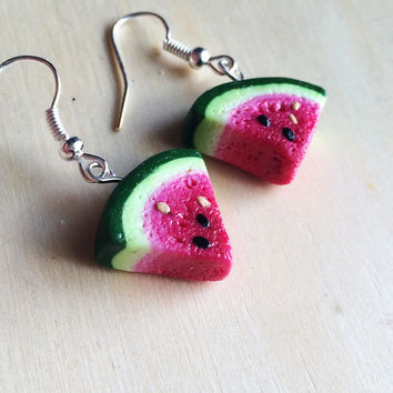Polymer Clay Watermelon Slice Earrings  **MADE TO ORDER**