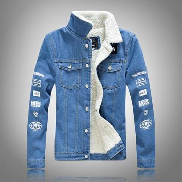 2018 New Men's Warm Fleece Denim Jackets Slim Thick Warm Winter Outerwear Cashmere Male Coats Blue Pattern Winter Long Sleeve