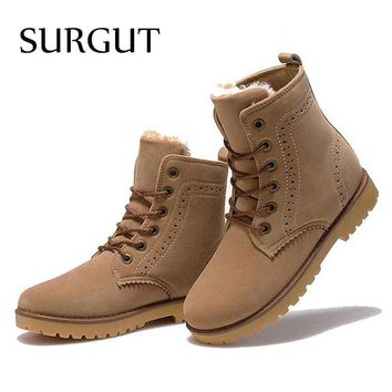 SURGUT Brand 2017 Fashion Winter Shoes For Men Suede pu Leather Snow Men Boots High Qu