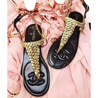 CHANEL 2018 summer new style leg sandals hand-knitted shoes F-RCSTXC