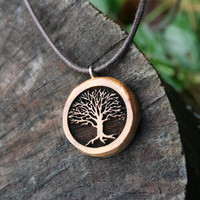 Wood Tree of Life Necklace- in Myrtlewood (MODN 18)- Wooden Jewelry, Boho Jewelry