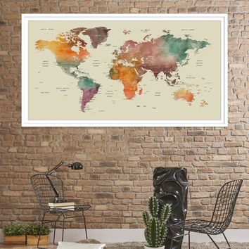 39234 - Large Wall Art World Travel Map Canvas Print - World Map Push Pin Wall Art Canvas Print - Framed Hang on Ready Wall Art Canvas
