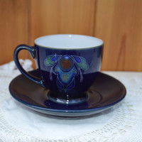 Denby Baroque coffee cup and saucer/ mid century pottery/navy blue demitasse and saucer