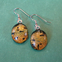 Dichroic Earings, Dangle Earrings, Hypoallergenic, Fused Glass Jewelry - Penny - 1822 -3