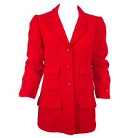 Chanel Red Pique Fabric Jacket