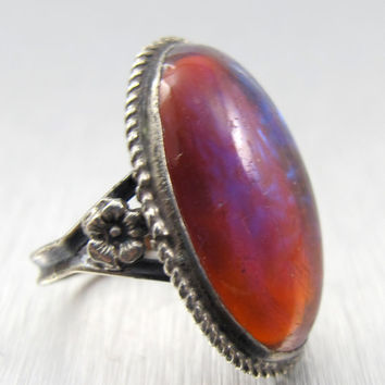Vintage Art Deco Sterling Jelly Opal RIng Size 6.5 Dragons Breath Art Glass Cabochon