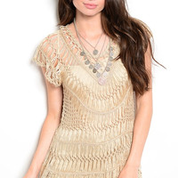 Crochet Knit Tunic Beach Coverup