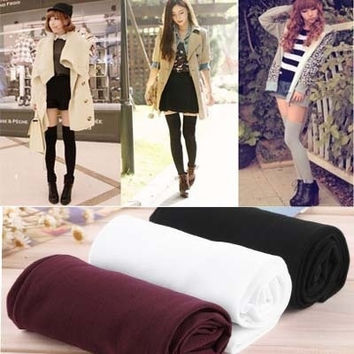 Womens Lady Girls Fashion Opaque Knit Over Knee Thigh High Stockings Socks = 1958047108