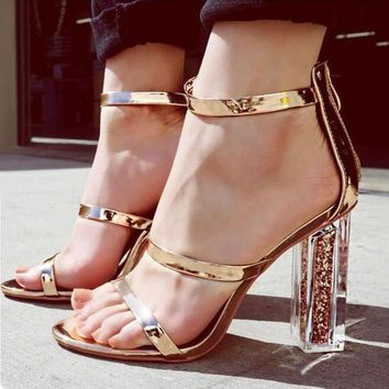 Strappy Ankle Strap Gold Sandals High Heels