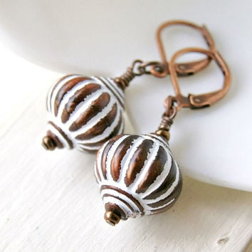 marakesh fluted acrylic and copper lever back dangle earrings, drop, beaded, bohemian, brown, rustic, boho