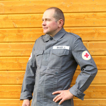 Vintage Red Cross Jacket Unused 1970s German Mens Workwear Gift for Doctor Nurse Military Clothing Army Clothing Military Jacket Cool Guy