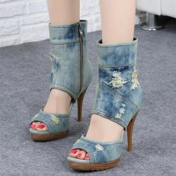 Peep Toe Denim Boots Cut Out High Heel Ankle Zipper Side Platform Boots