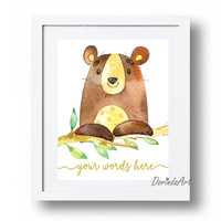Personalized Name print Large Watercolor Bear printable Personalized nursery art Brown Animal Custom Nursery art quote Poster print Download