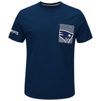 Men's Majestic Navy New England Patriots Strong Drive Pocket T-Shirt