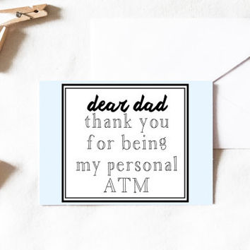 Dear Dad Card, dad card, thank you dad card, fathers day, birthday dad, birthday card, father card, dad card, funny dad card, funny card