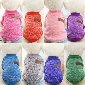 Winter Warm Dog Clothes Pet Cat Jacket Coat Fashion Soft Sweater Clothing For Chihuahua Yorkie 9 Colors XS-2XL