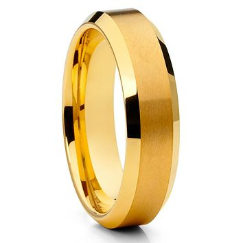 Yellow Gold Tungsten Ring - 6mm - Yellow Gold Tungsten Ring - Wedding Band