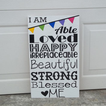 I Am... 12x24 Wood Sign