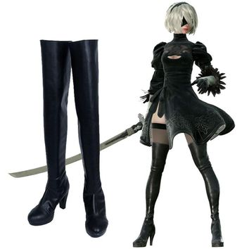 New Game NieR:Automata YoRHa Type A No. 2 Cosplay Black Boots 2B Cosplay Shoes Halloween Christmas Gift Men/Women Custom-Made