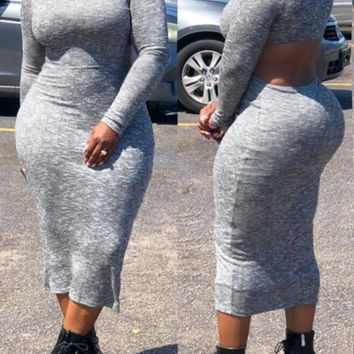 New Grey Cut Out Irregular Bodycon Backless Long Sleeve Band Collar Casual Office Worker Maxi Dress