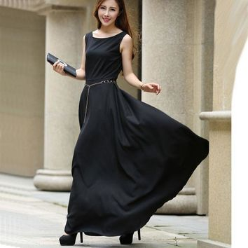 CREYHY3 Fashion Casual Tank Long Dress Women's O-Neck Sleeveless Floor Length Pleated Black Party Chiffon Dresses Female