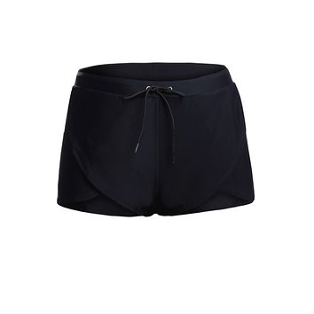 Z| Chicloth Solid Black Drawstring Waist Boyshort Beach Bottom