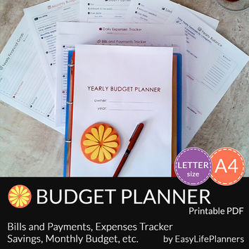 YEARLY BUDGET KIT. A4. Letter Size. Financial Binder. Bills and Payments tracker.  Daily, Monthly and Yearly Budget planner. 8 documents.