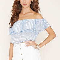 Geo Print Off-the-Shoulder Top