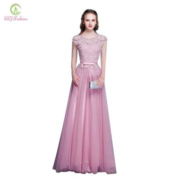 New Arrival Pink Lace Beading Long Evening Dress The Bride Banquet Elegant Party Gown Formal Dresses