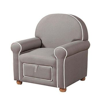 Kinfine Youth Upholstered Club Chair with Storage Drawer, Grey with White Piping