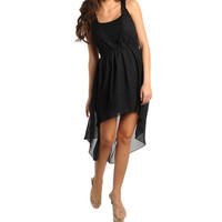 Lace & Chiffon Hi-Lo Dress in Black