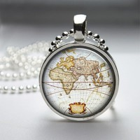 Map Globe Glass Tile Bezel Round Pendant Necklace