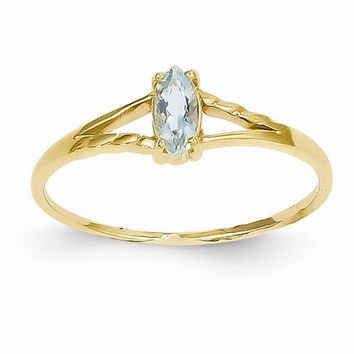 14k Yellow Gold Genuine Aquamarine Birthstone Ring